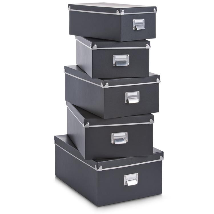 5tlg set aufbewahrungskiste mit deckel kiste box karton schachtel pappe ebay. Black Bedroom Furniture Sets. Home Design Ideas