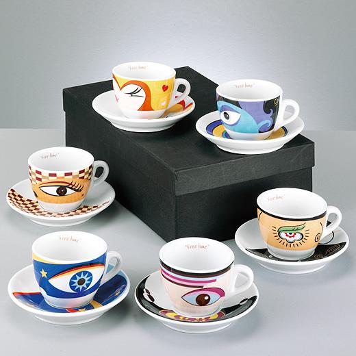 12 tlg set cappuccino tassen set kaffee service porzellan mit untertassen ebay. Black Bedroom Furniture Sets. Home Design Ideas