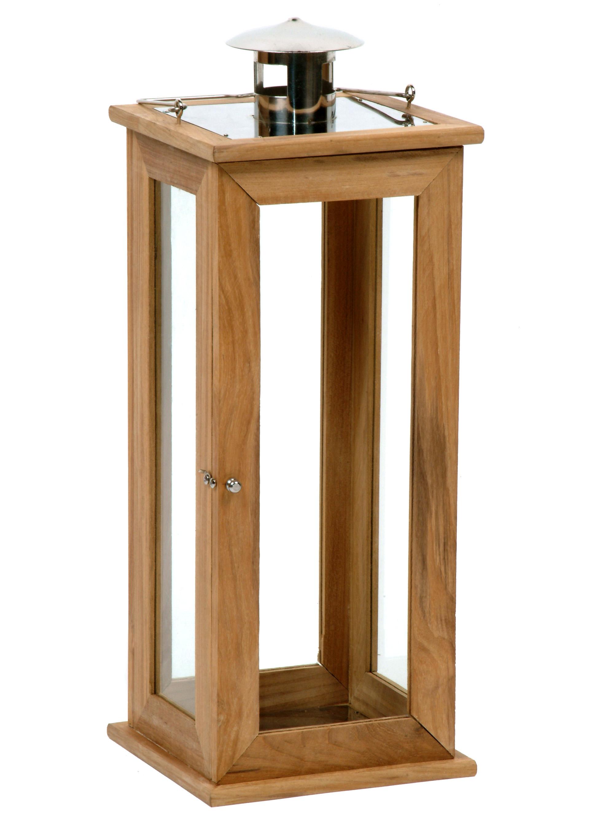 laterne holz glas f r blockkerze griff t r metall windlicht gartenlaterne gro ebay. Black Bedroom Furniture Sets. Home Design Ideas
