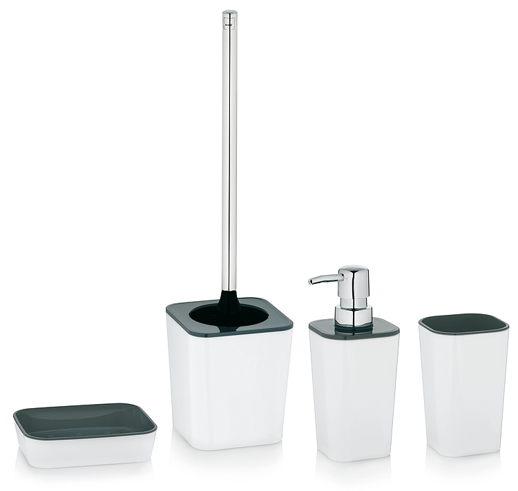 badset seifenspender wei grau wc b rste seifenschale spender becher garnitur ebay. Black Bedroom Furniture Sets. Home Design Ideas