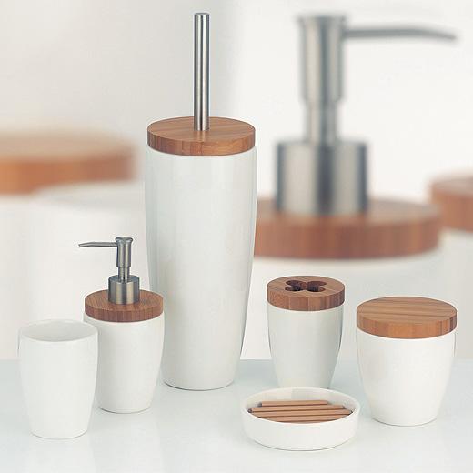 keramik bambus wc b rste becher seifenspender seifenschale wattedose badset ebay. Black Bedroom Furniture Sets. Home Design Ideas