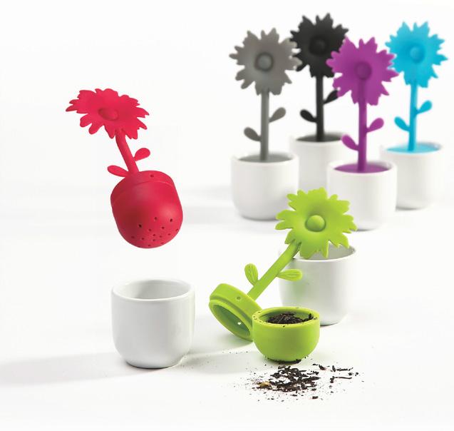 tee ei blume blumentopf teesieb keramik wei silikon tellzubereiter filter sieb ebay. Black Bedroom Furniture Sets. Home Design Ideas